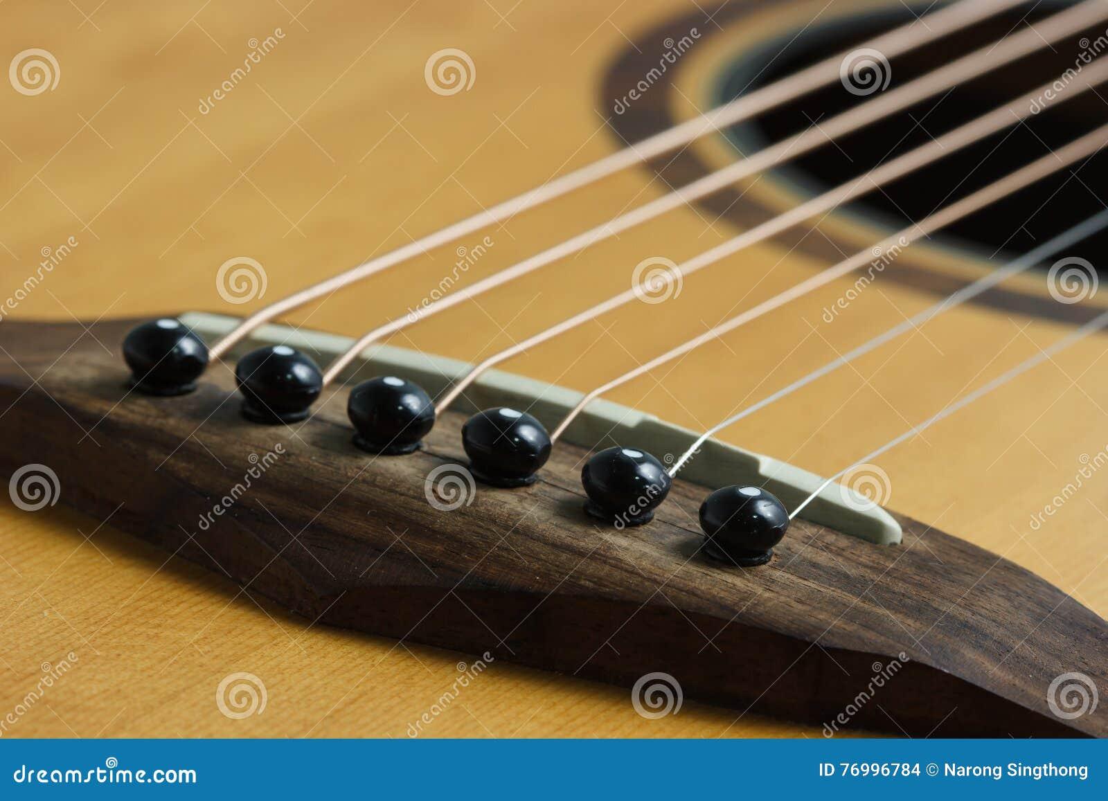 Acoustic Guitar Bridge Pins And Saddle Select Focus Stock Photo
