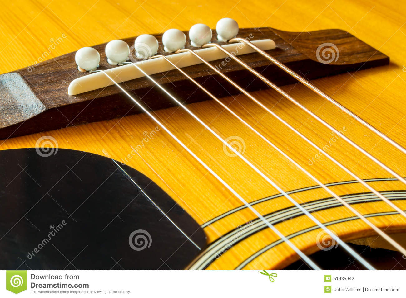 Acoustic Guitar Bridge With Saddle And Strings Stock Photo Image