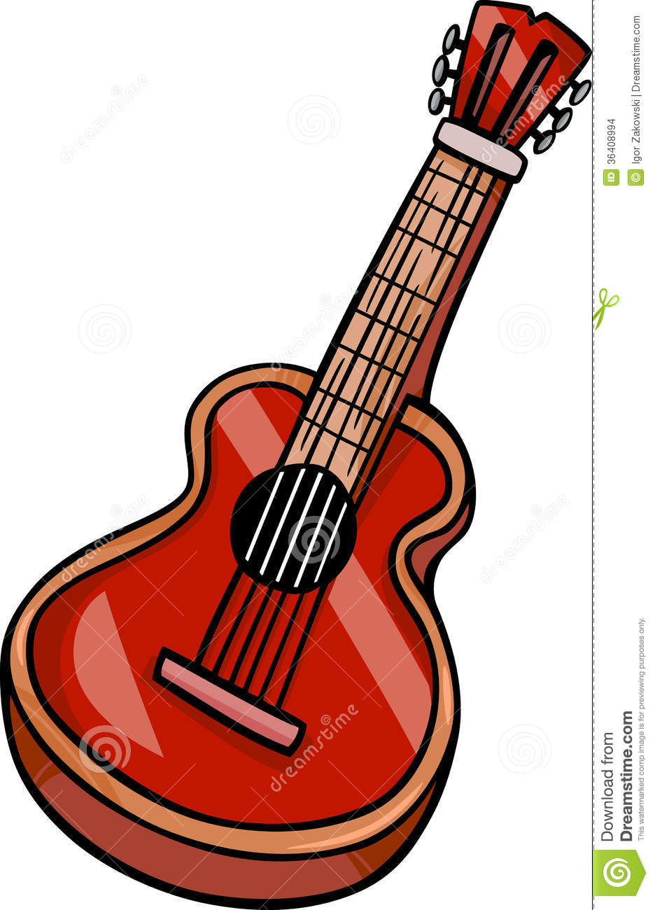 Cartoon Illustration of Acoustic Guitar Musical Instrument Clip Art.