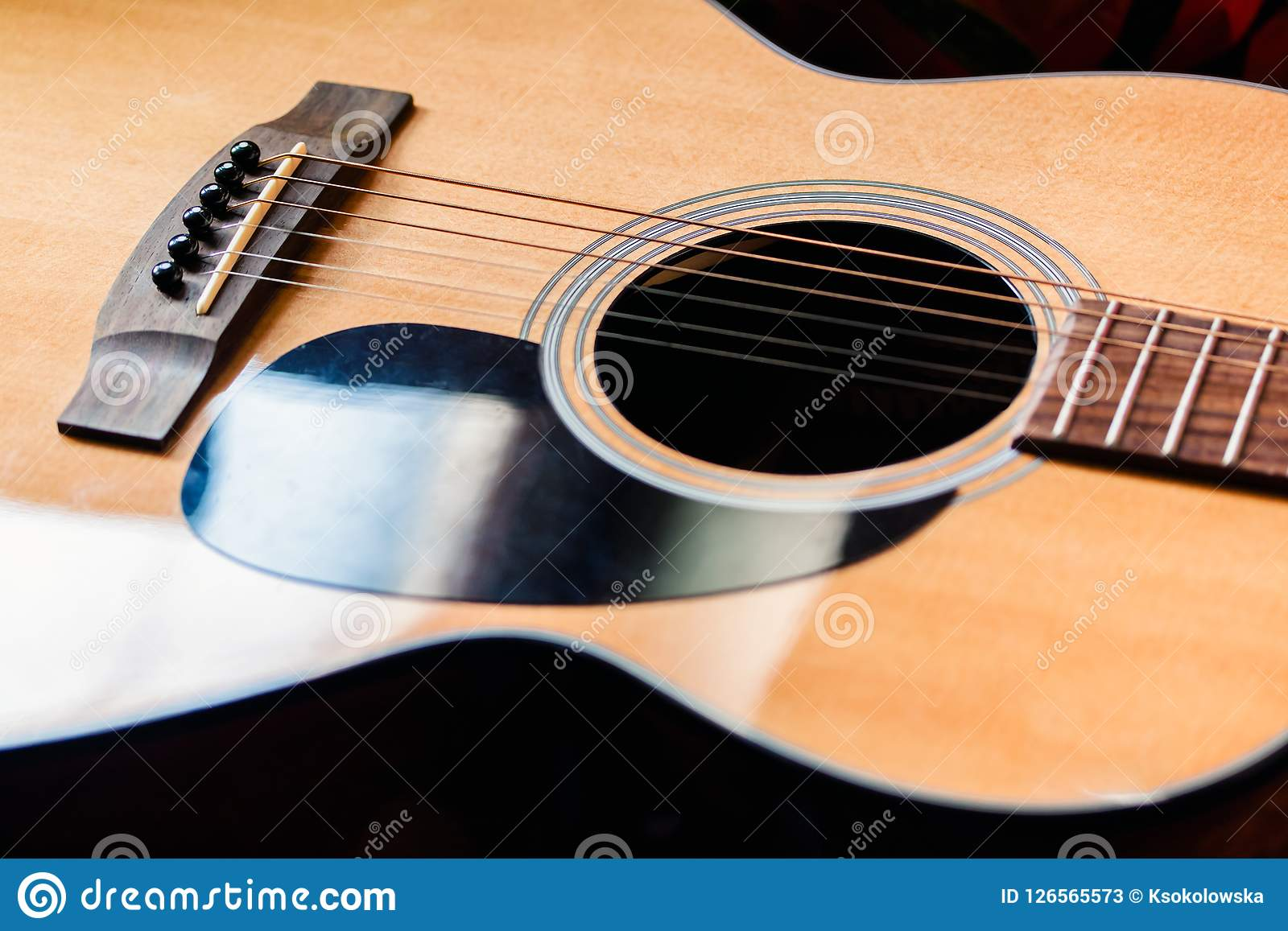 Acoustic Guitar Close Up On Dark Background Stock Image Image Of