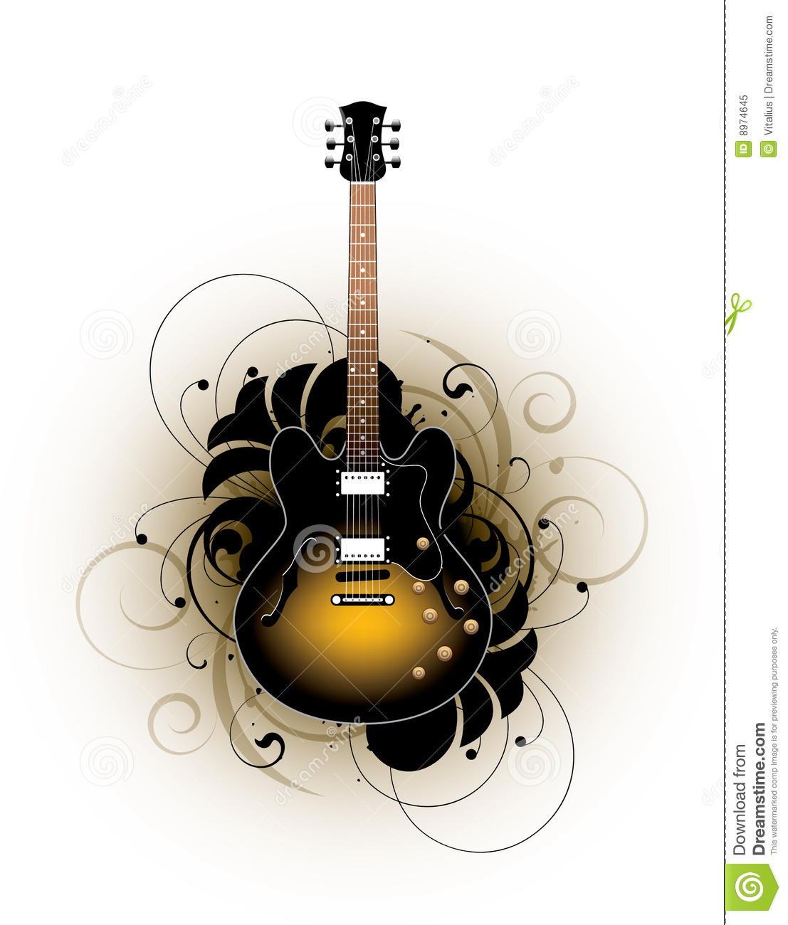 Acoustic Guitar Design Stock Vector Illustration Of Brown