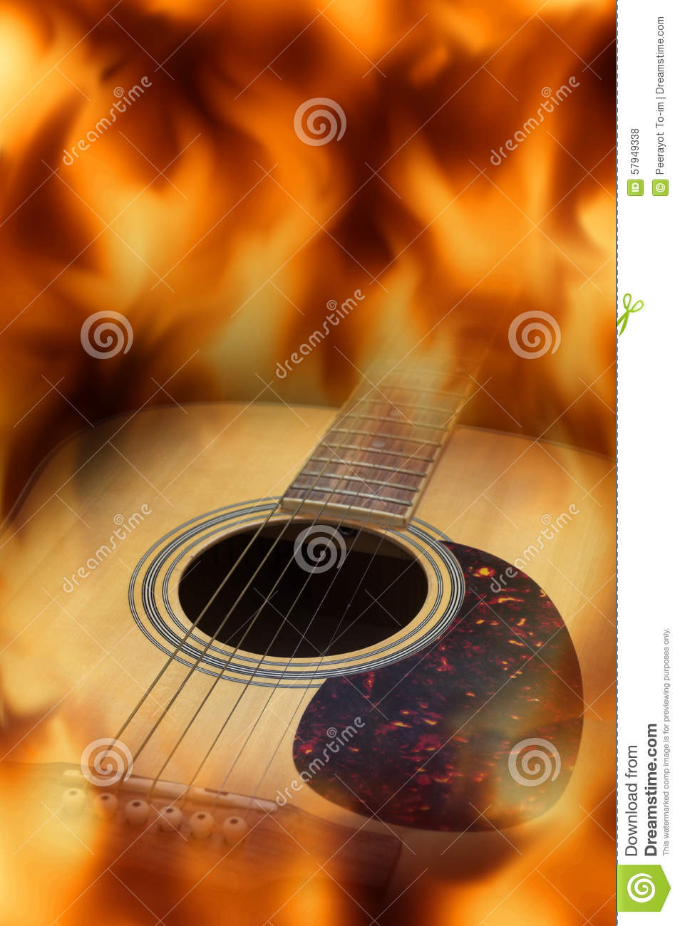 guitar acoustic fire flame - photo #12