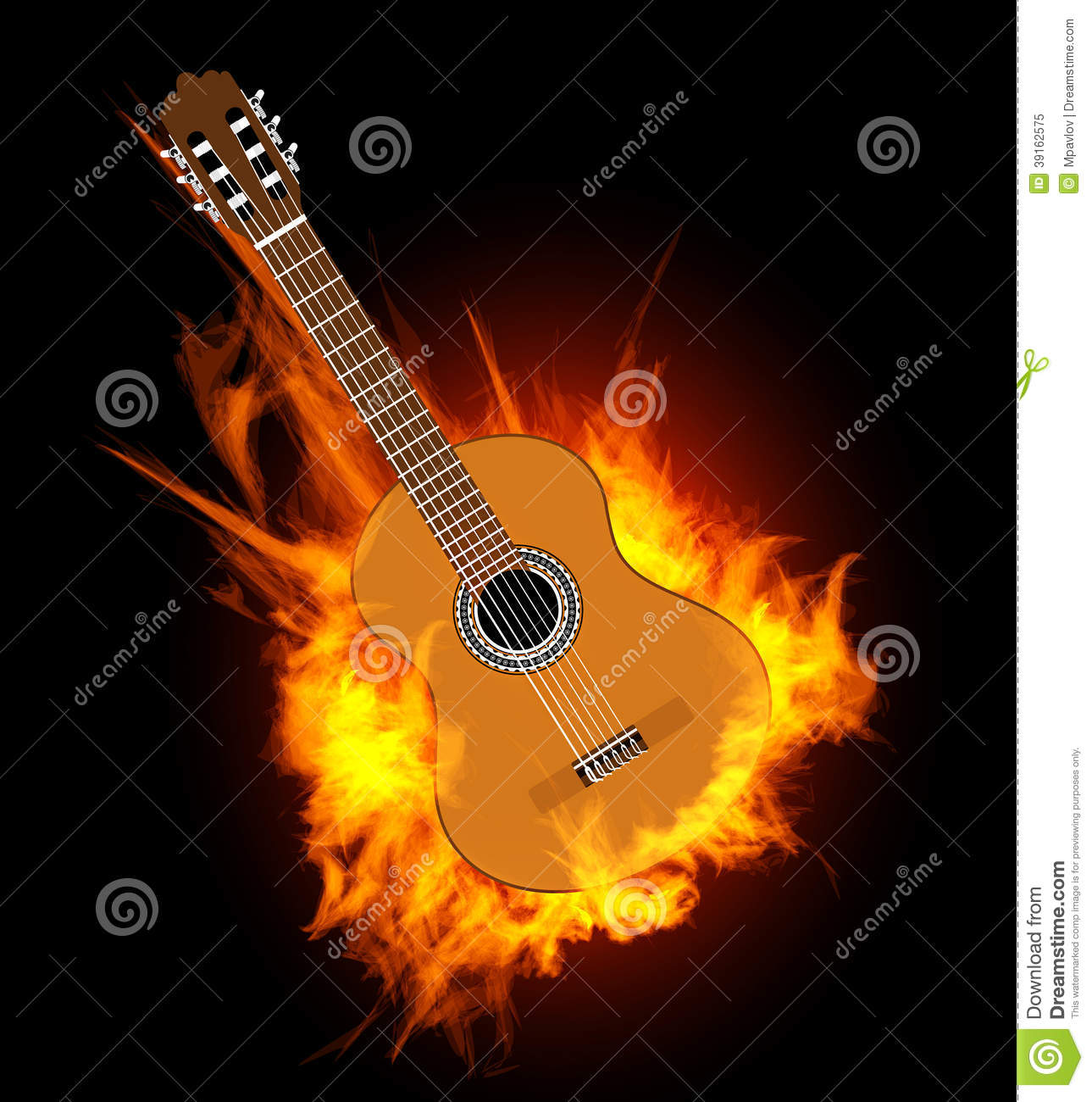 guitar acoustic fire flame - photo #2