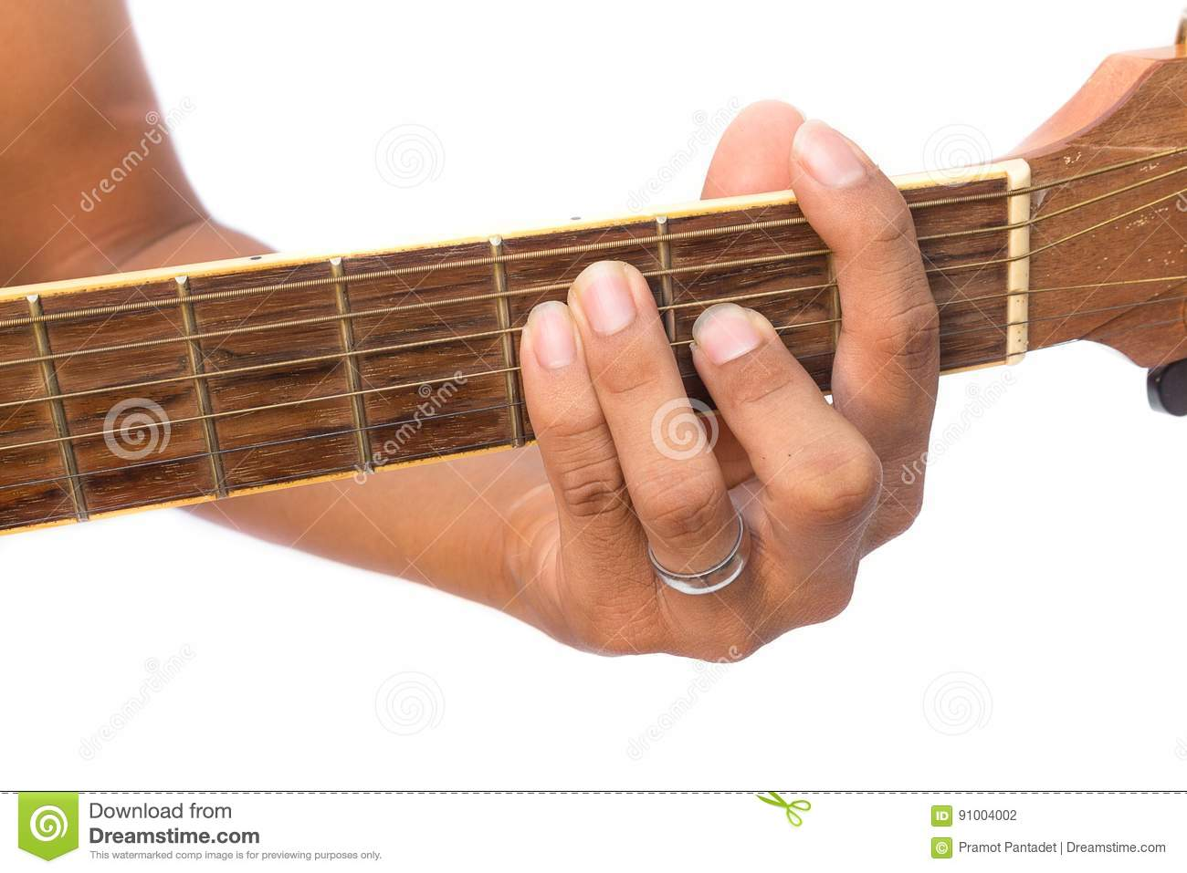Acoustic Guitar Guitarist Playing F Major Chord On White Background