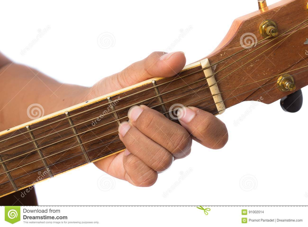 Acoustic Guitar Guitarist Playing Am Minor Chord On White Background