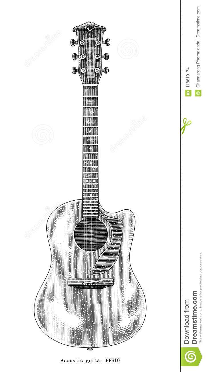Acoustic Guitar Hand Drawing Vintage Engraving Illustration Stock ...