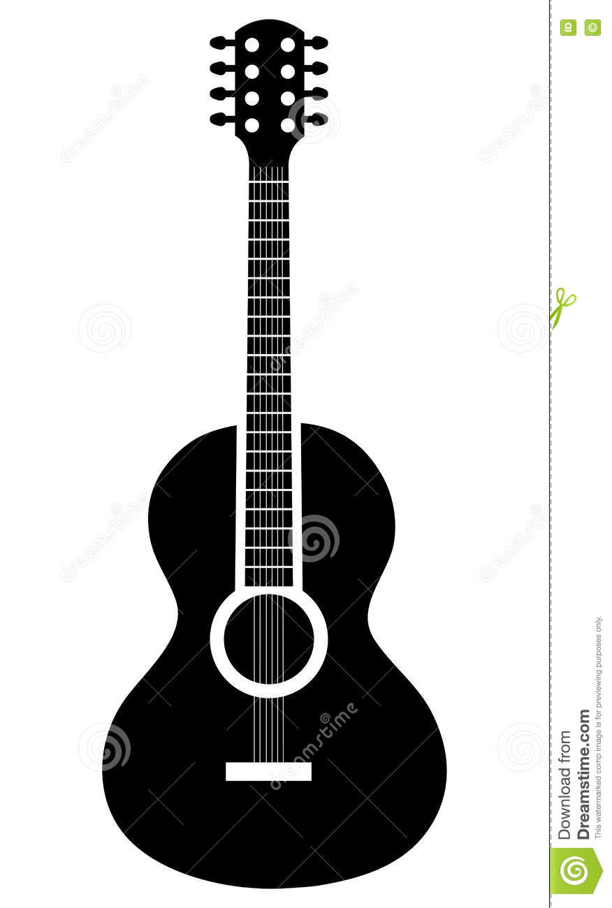 Acoustic Guitar Icon In Black And White Colors Stock Vector