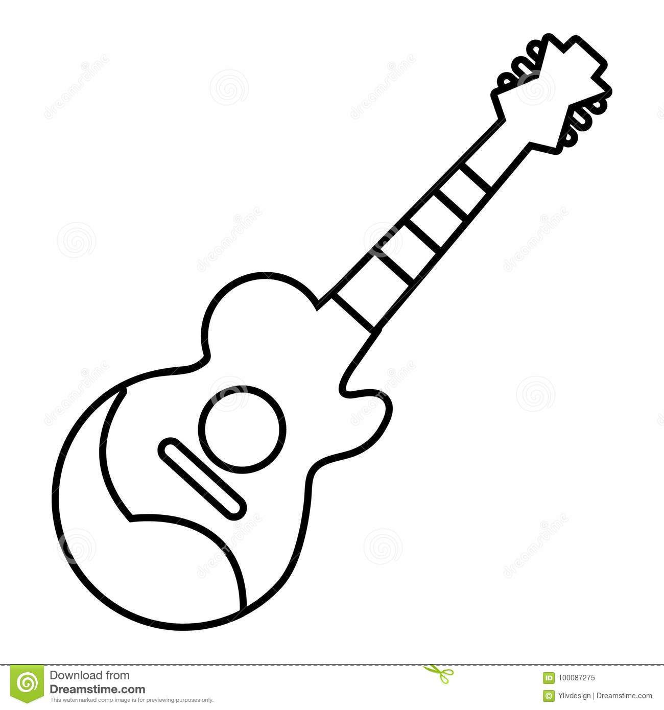guitar acoustic electric outline silhouette stock