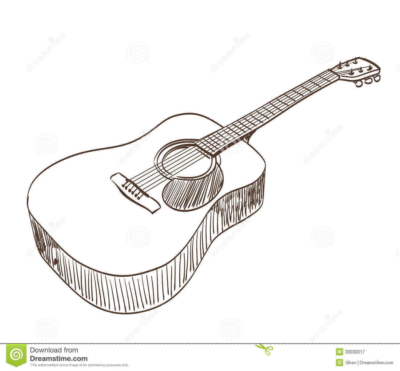Line Drawing Styles : Acoustic guitar royalty free stock photography image