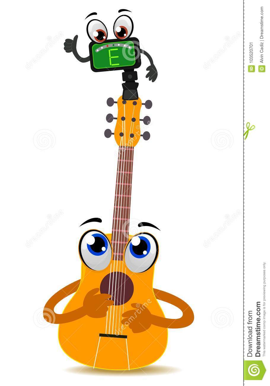 Acoustic Guitar Mascot With Tuner Stock Vector Illustration Of