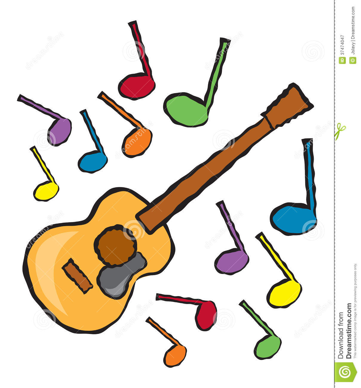 Acoustic Guitar And Music Notes Stock Vector Illustration Of Note