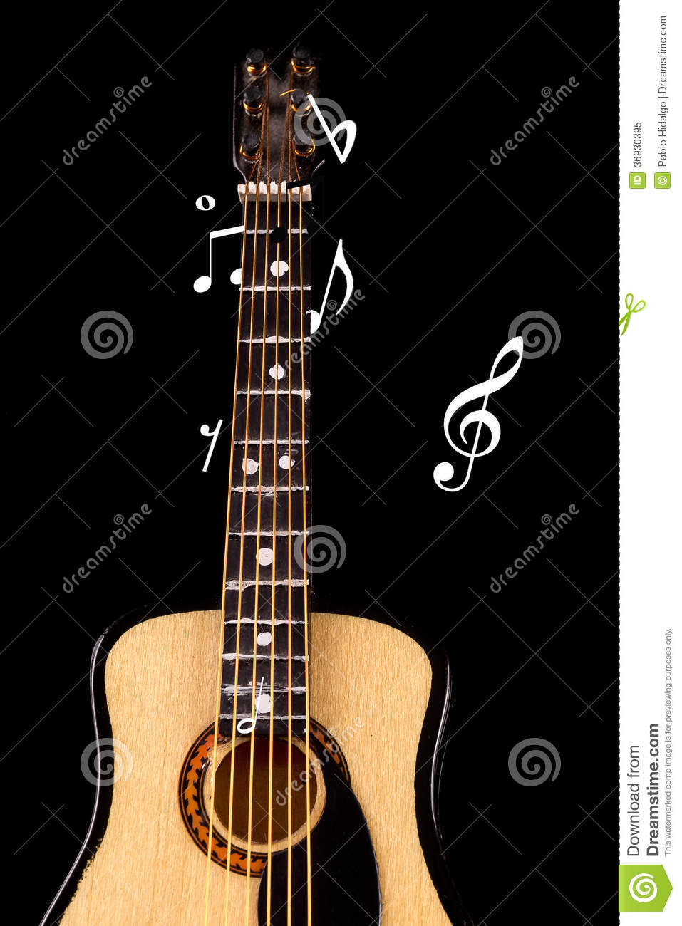 Acoustic Guitar With Music Notes Stock Image Image Of Guitar Folk