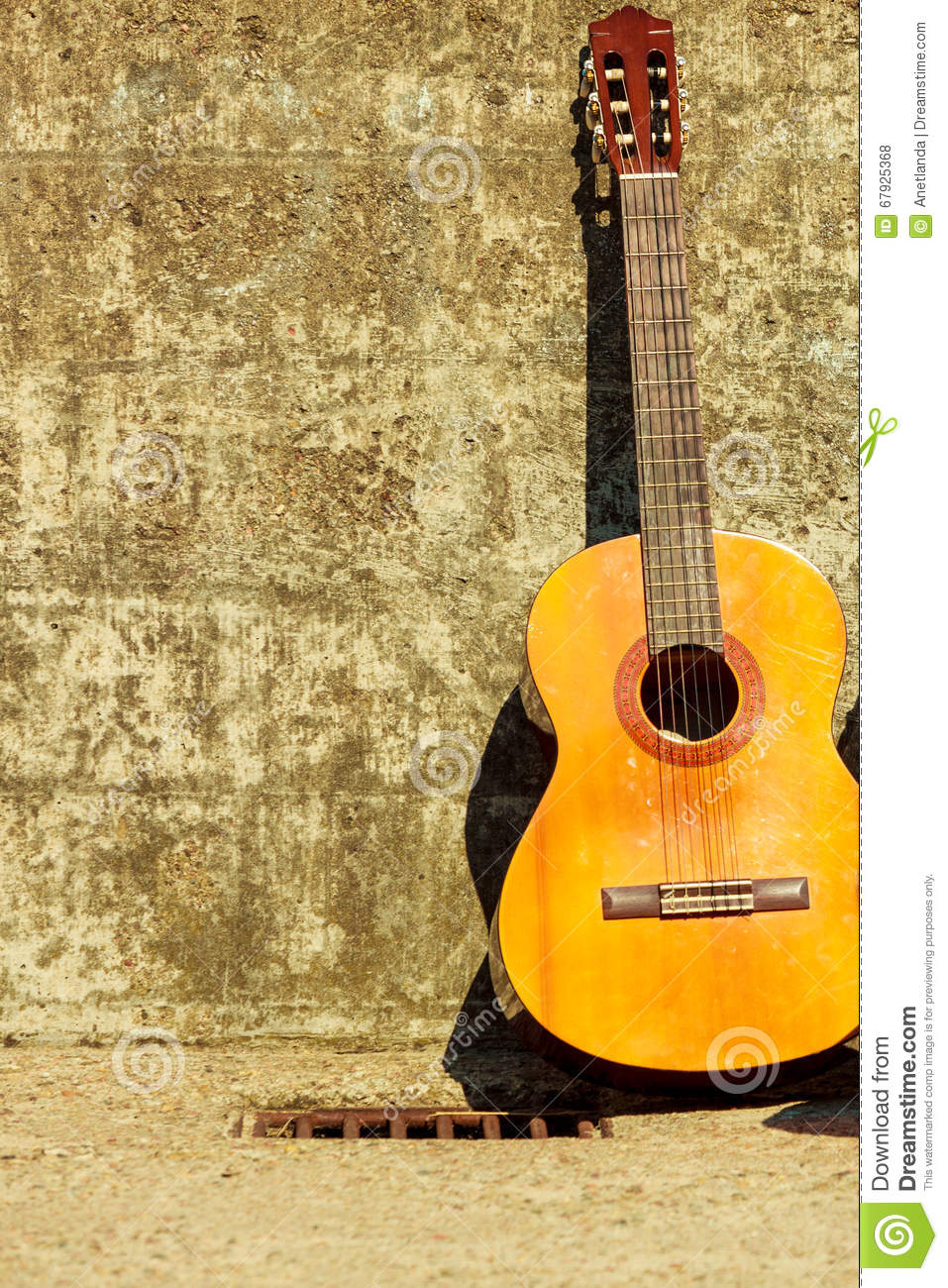 Acoustic Guitar Outdoor On Wall Background Stock Photo - Image of ...