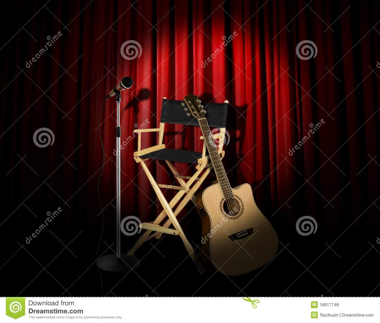 Acoustic Guitar Performence On Stage Stock Photo Image