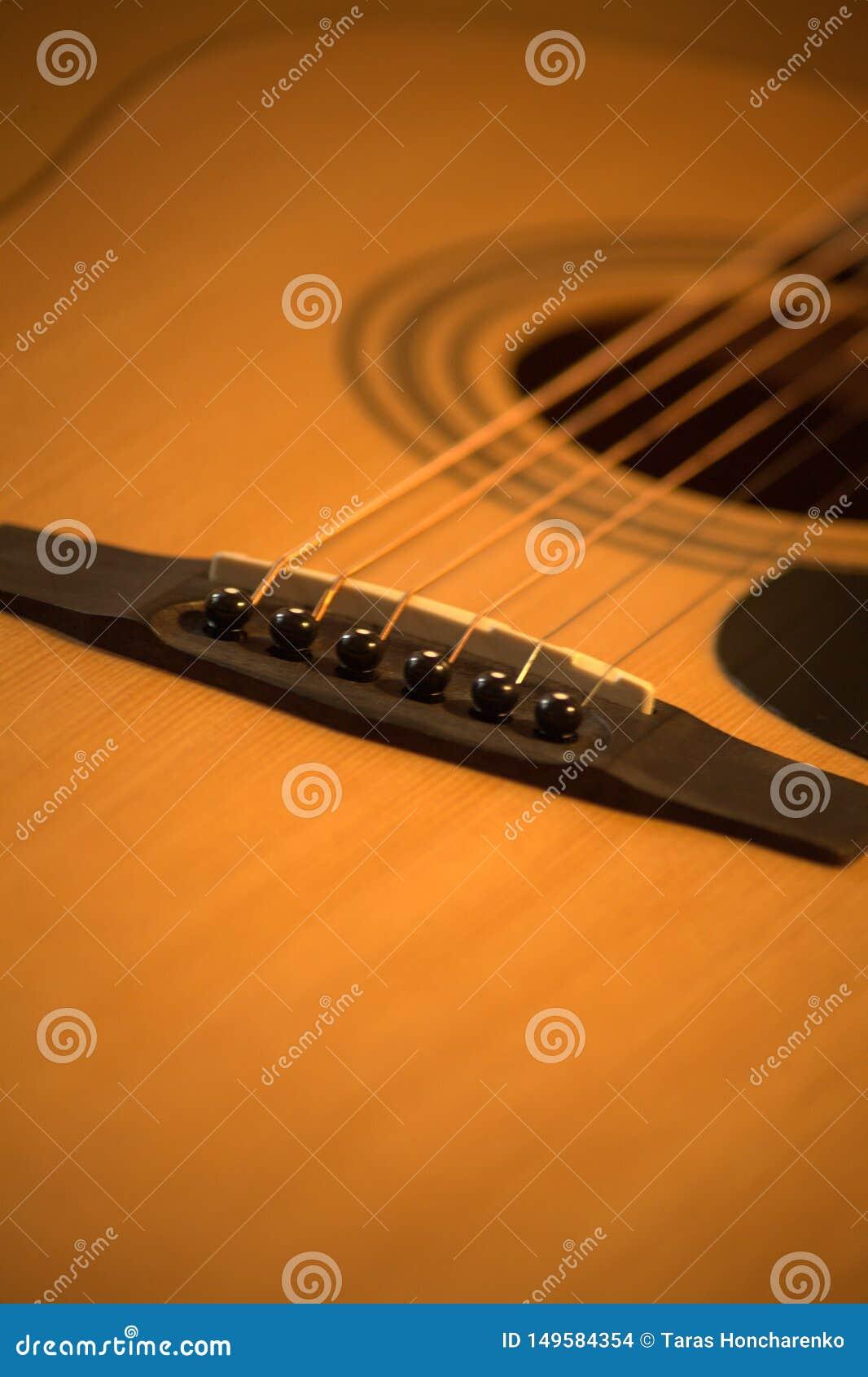 Acoustic guitar photo in cozy, warm tones