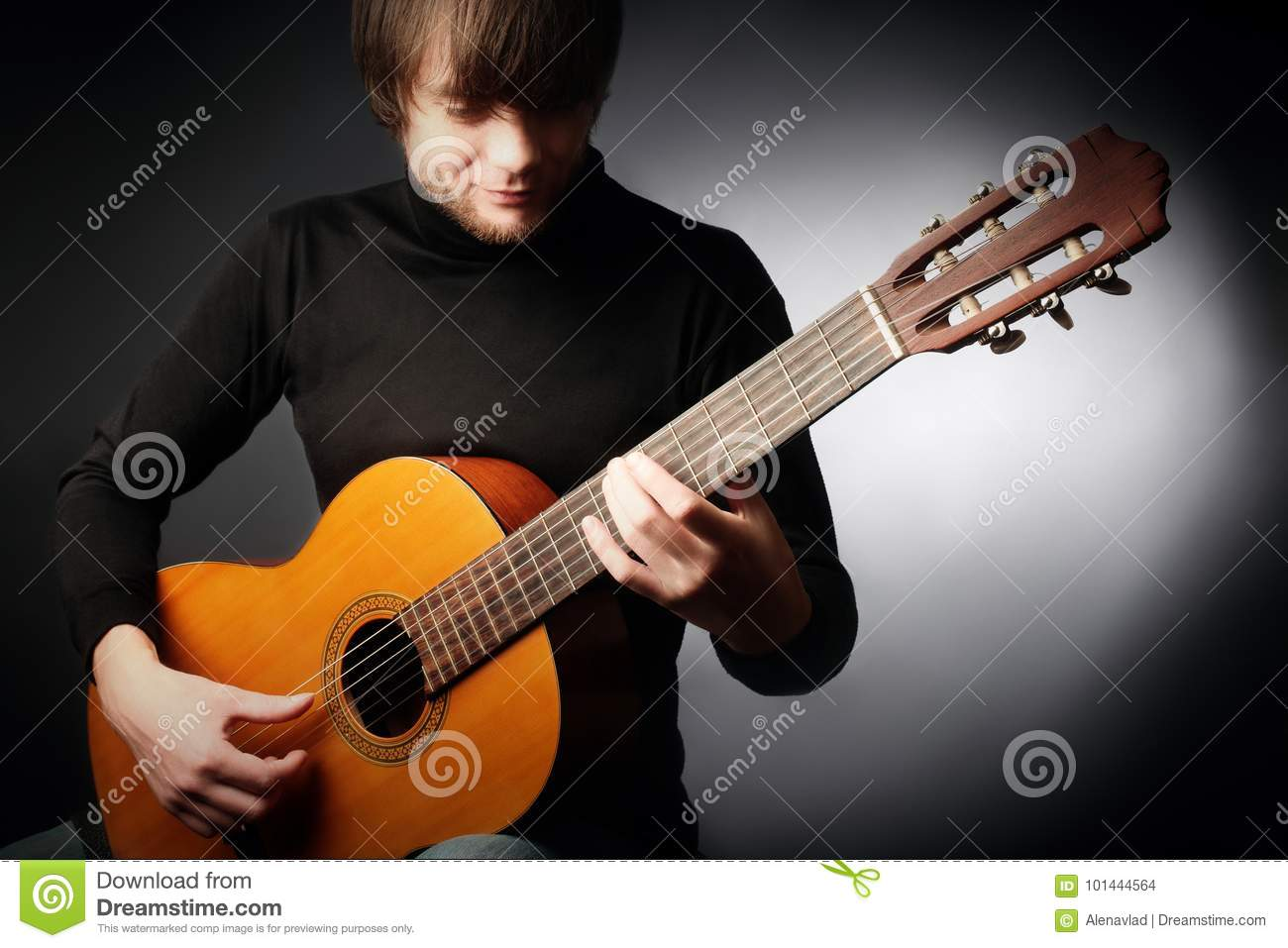 acoustic guitar player classical guitarist stock photo image of play close 101444564. Black Bedroom Furniture Sets. Home Design Ideas