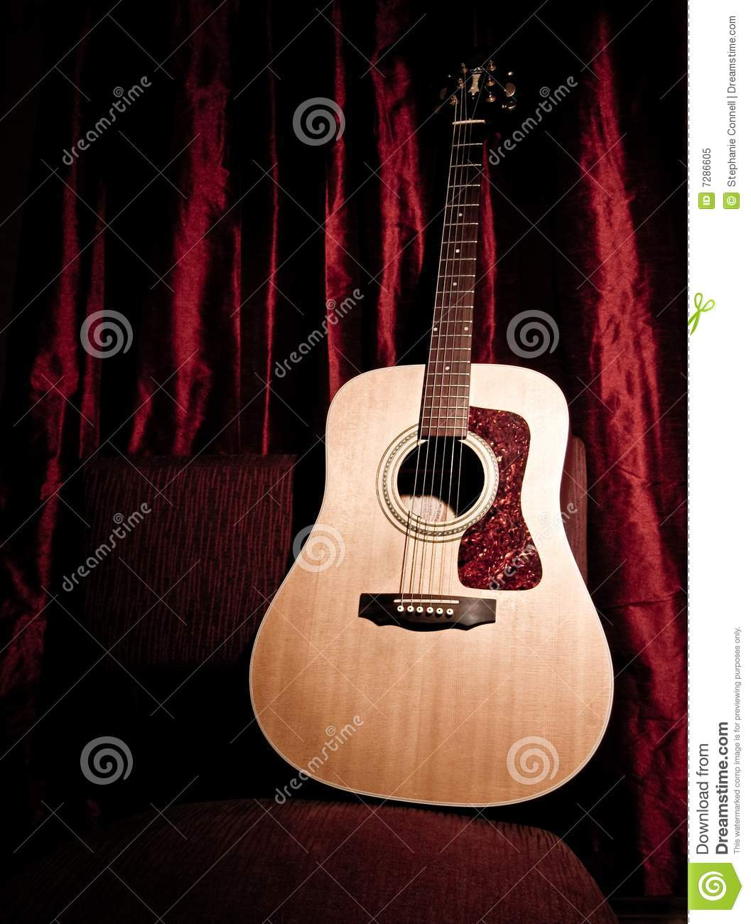 Acoustic Guitar On A Red Stage Stock Image Image Of Music Folk