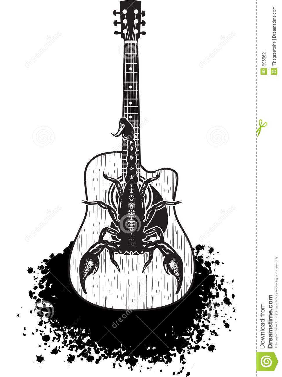 Acoustic Guitar With Scorpion Stock Vector Image 9955621