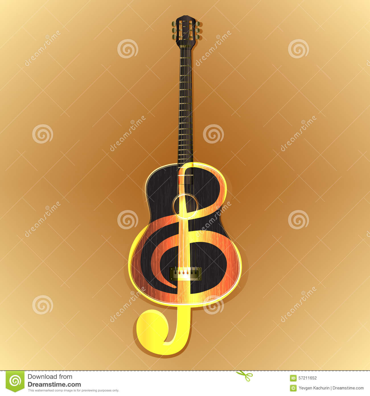 Acoustic Guitar With A Treble Clef Stock Vector - Image: 57211652