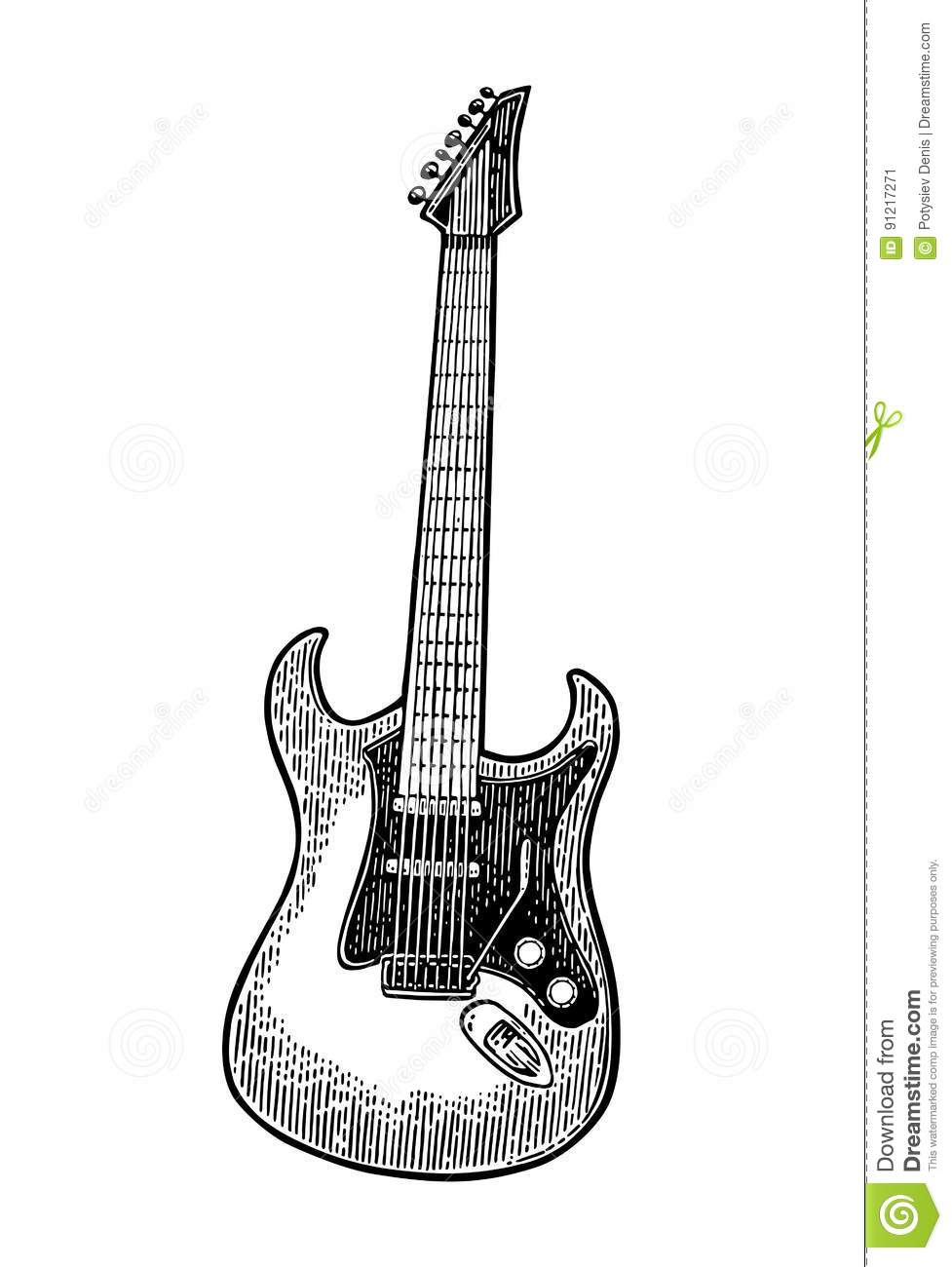 Acoustic Guitar Vintage Vector Black Engraving Illustration Stock