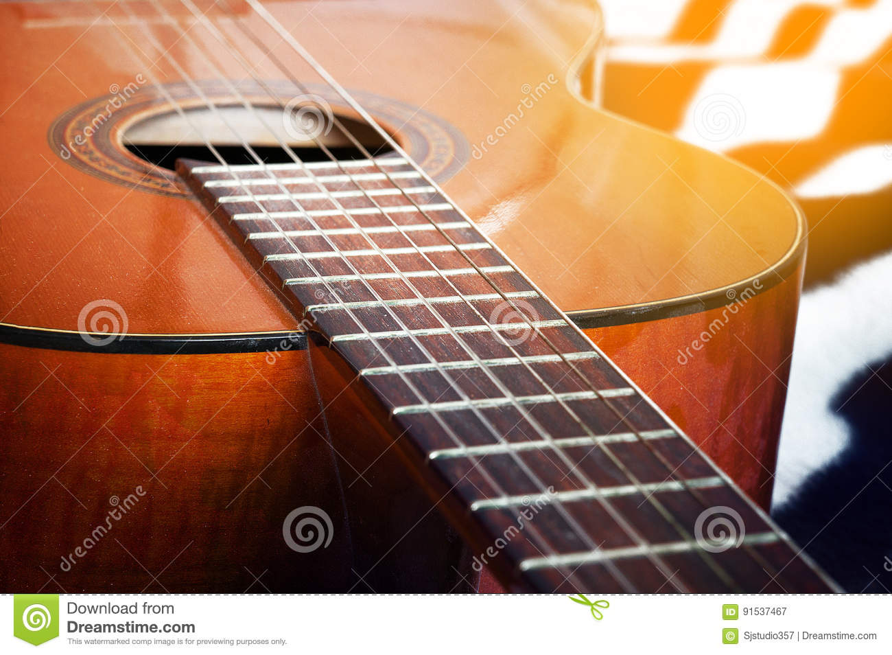 Acoustic Guitar On A White Bed Stock Image Image Of Modern 2017