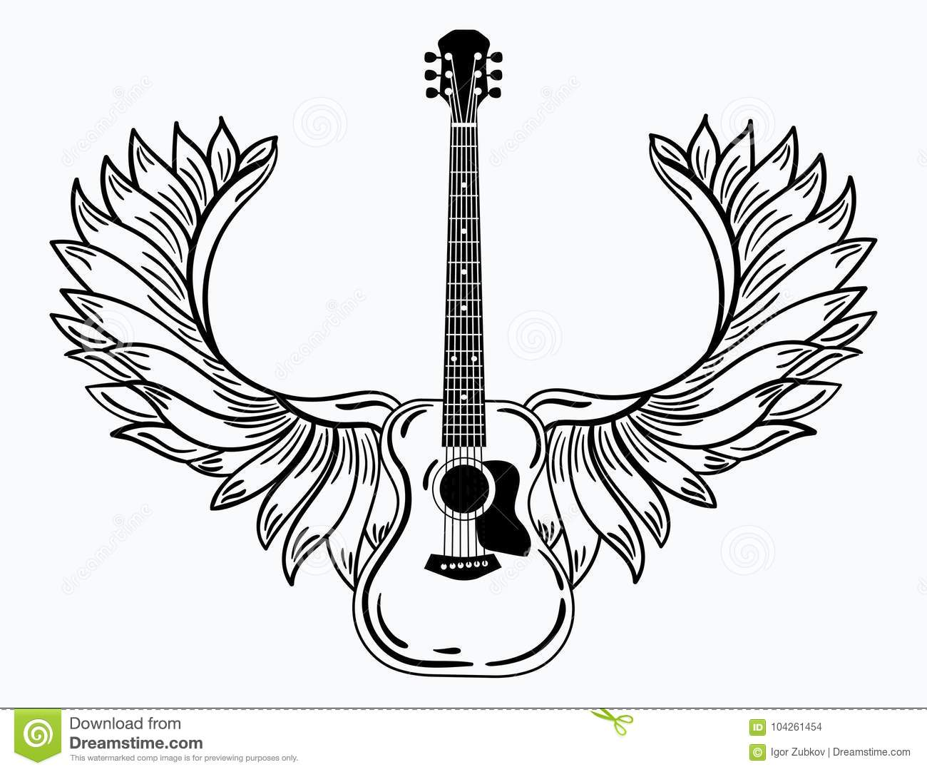 Acoustic Guitar With Wings Stylized Coustic Guitar With Angel Wings