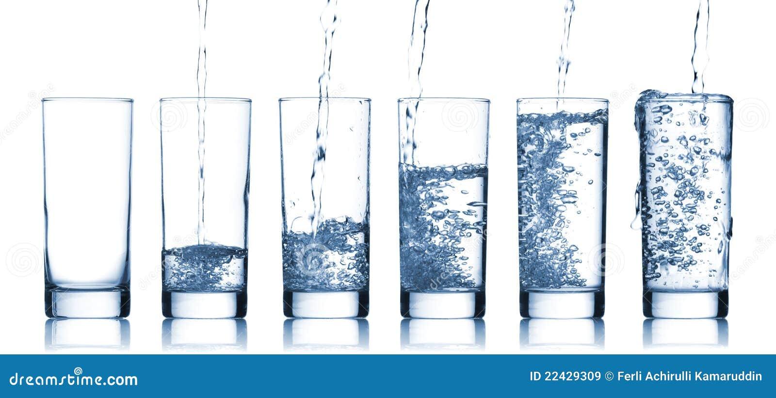 Acqua di versamento dentro ad un vetro