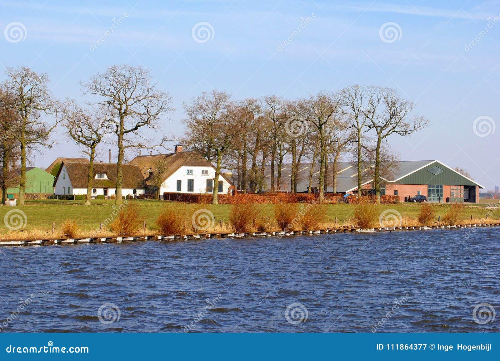 Acqua rurale olandese delle costruzioni di casa dell azienda agricola, Paesi Bassi