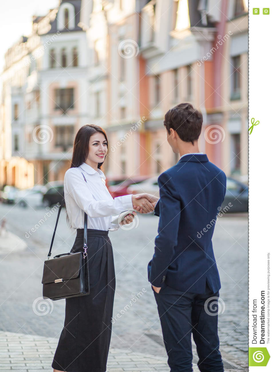 Acquaintance and communication of businessman, businesswoman