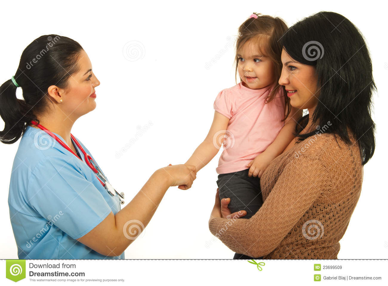 Acquaintance doctor with toddler girl