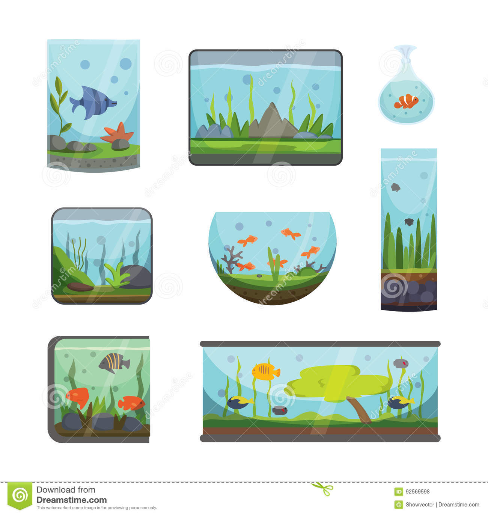 Acquario trasparente isolato sull illustrazione subacquea di vettore della ciotola del carro armato della casa del aquarian dell