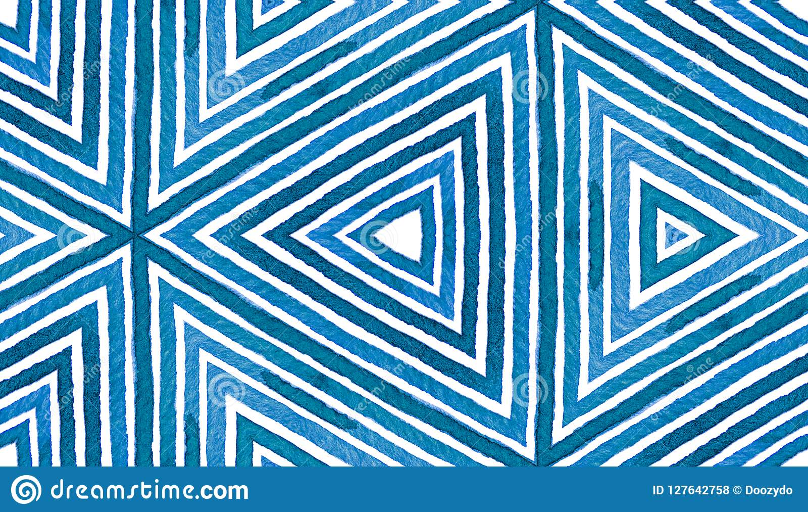 Acquerello geometrico blu Reticolo senza giunte sveglio Bande disegnate a mano Struttura della spazzola Chev immacolato