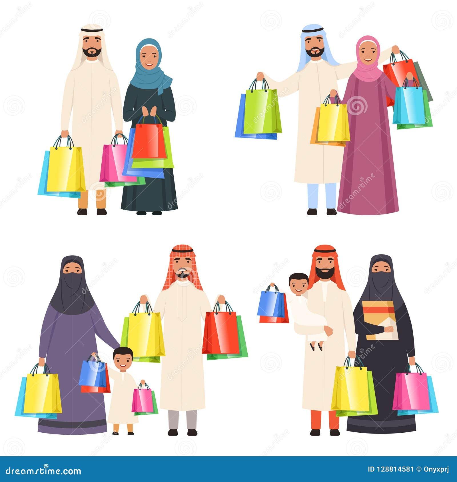 Acquisto arabo della famiglia La femmina maschio ed i bambini della gente felice musulmana nel mercato con le borse vector i pers