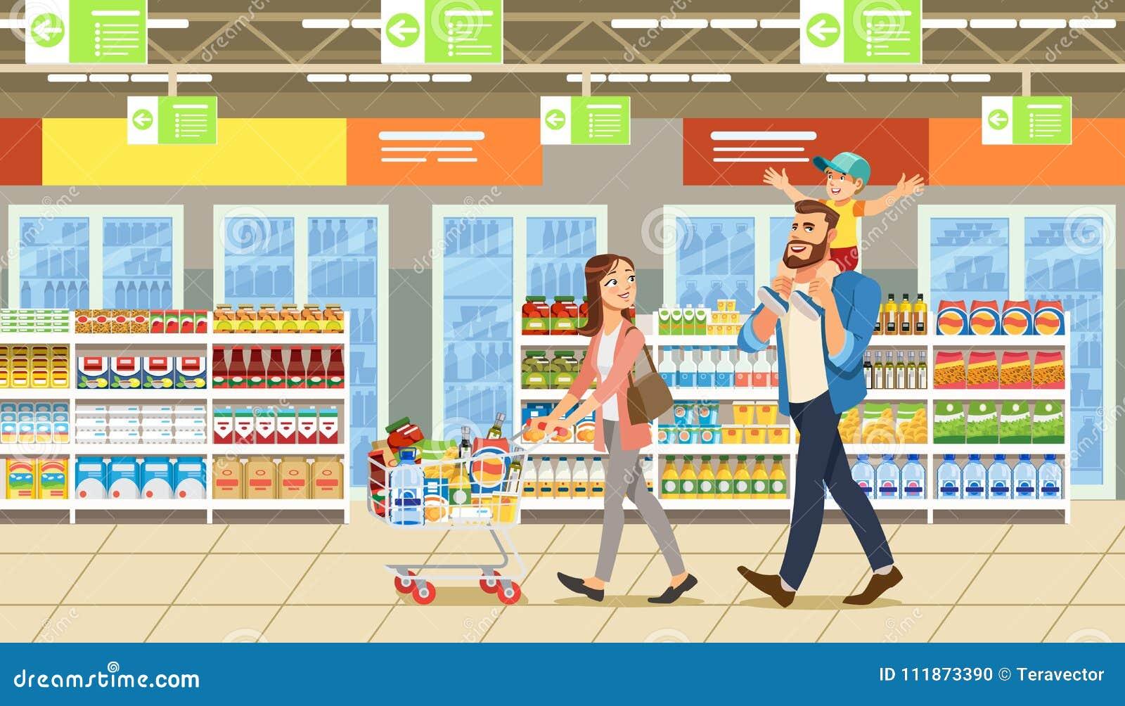 Acquisto della famiglia nel supermercato con il carretto del prodotto Personaggi dei cartoni animati di divertimento Genitori e b