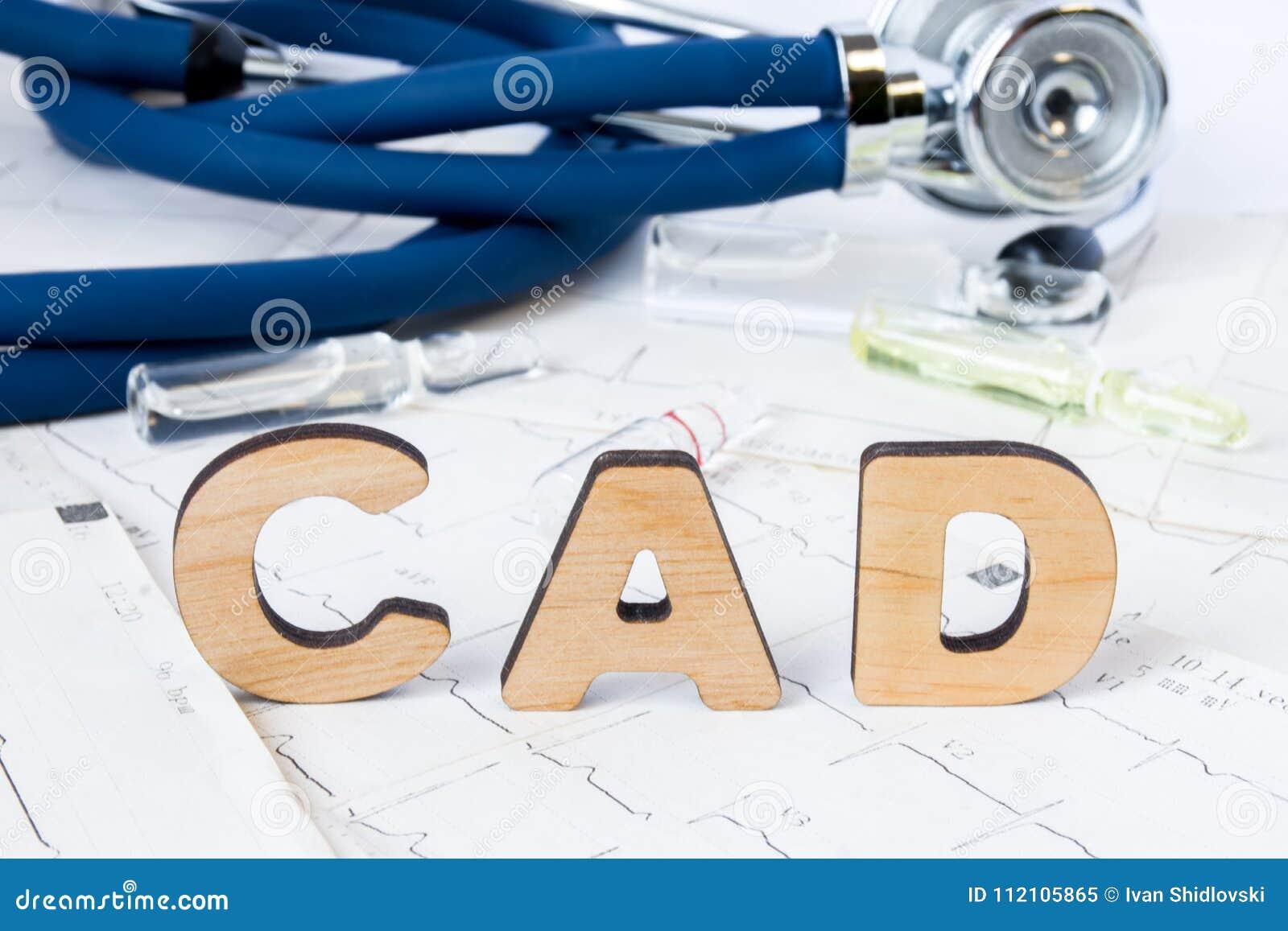 Acrônimo ou abreviatura do CAD ao conceito ou ao diagnóstico médico da doença arterial coronária - tipo de doença cardíaca comum