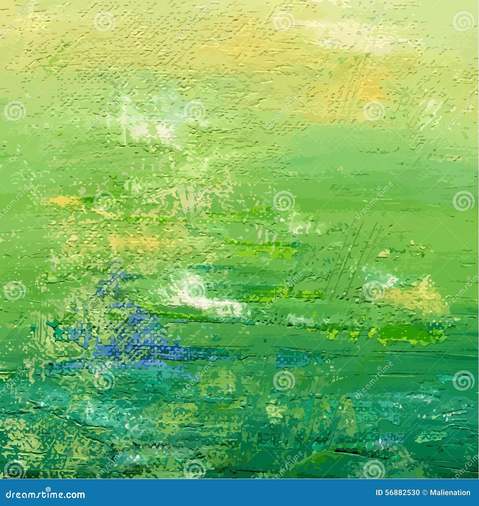 Acrilico verde o fondo dipinto olio Contesto astratto Illustrazione di vettore