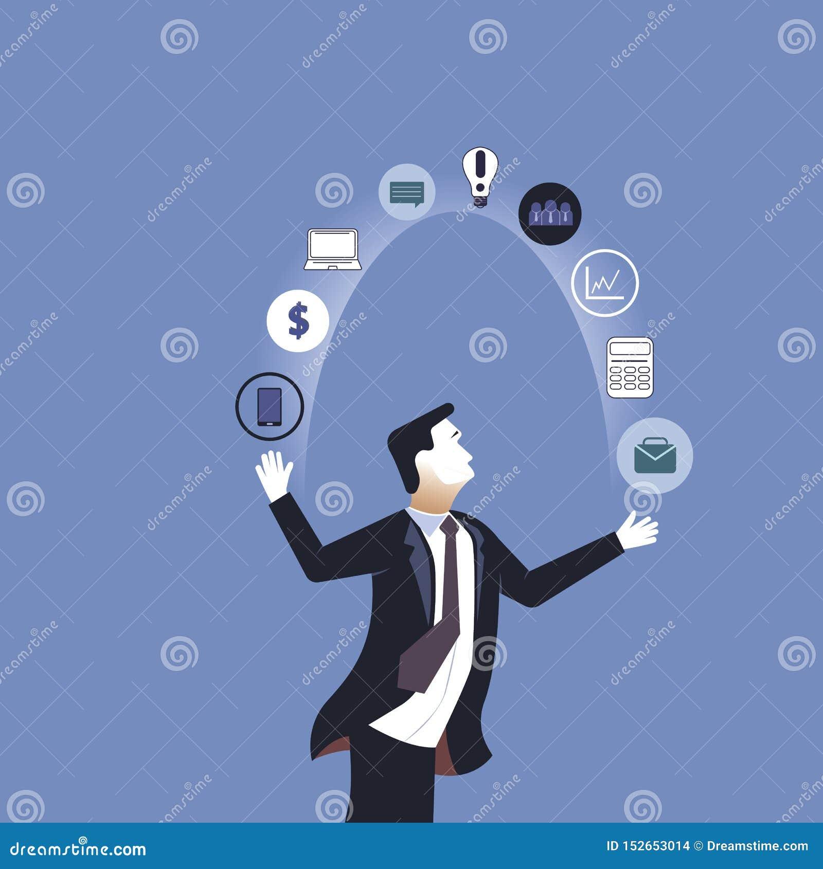 Acrobat. Businessman juggling business icons. Concept business vector illustration