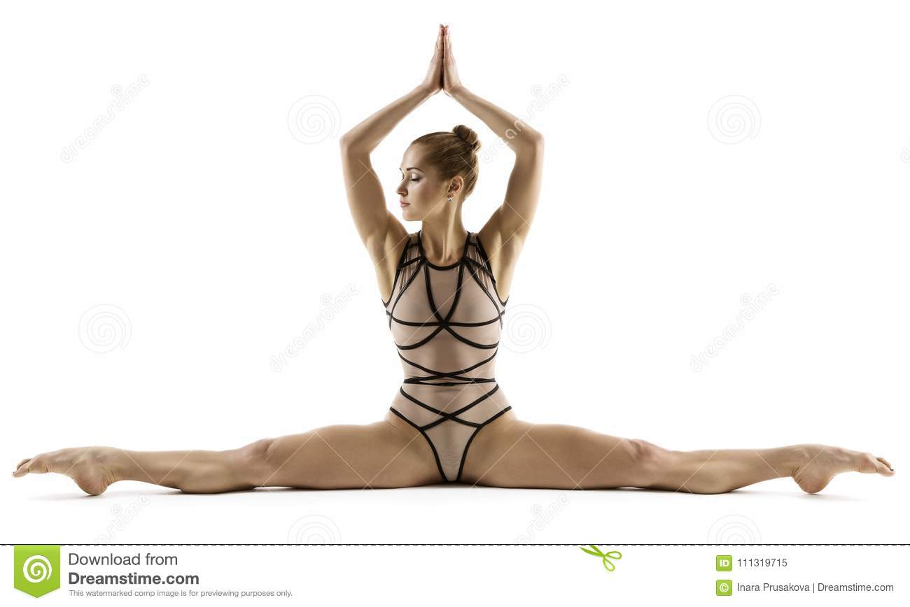 Acrobat Woman Doing Split, Gymnast Stretching Legs, Gymnastics