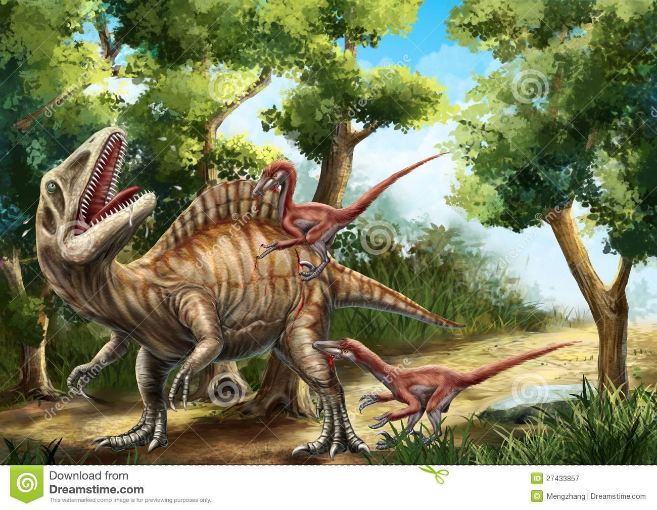 Two deinonychuses were attacking an a crocanthosaurus in the wood。.