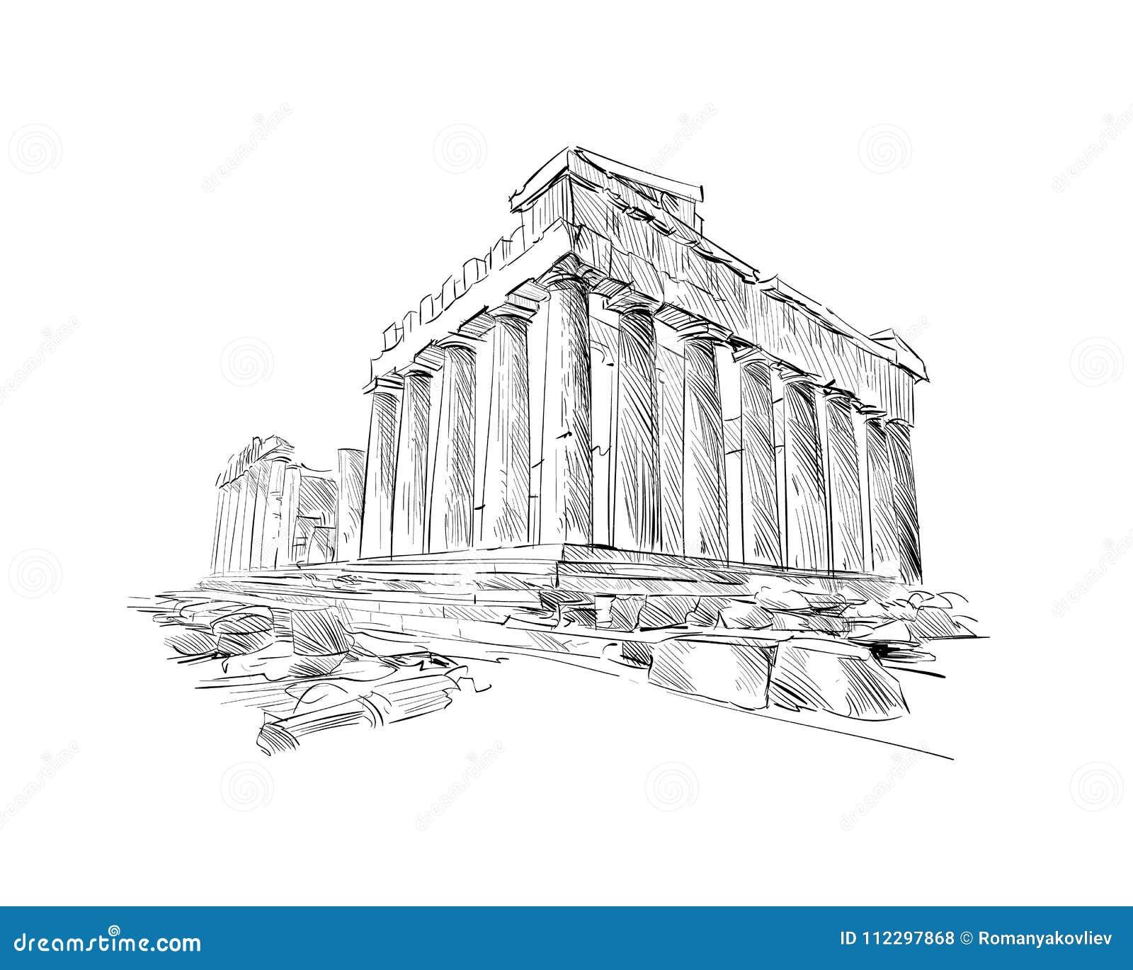 Acropole Athènes Le parthenon athènes La Grèce Croquis tiré par la main Illustration de vecteur