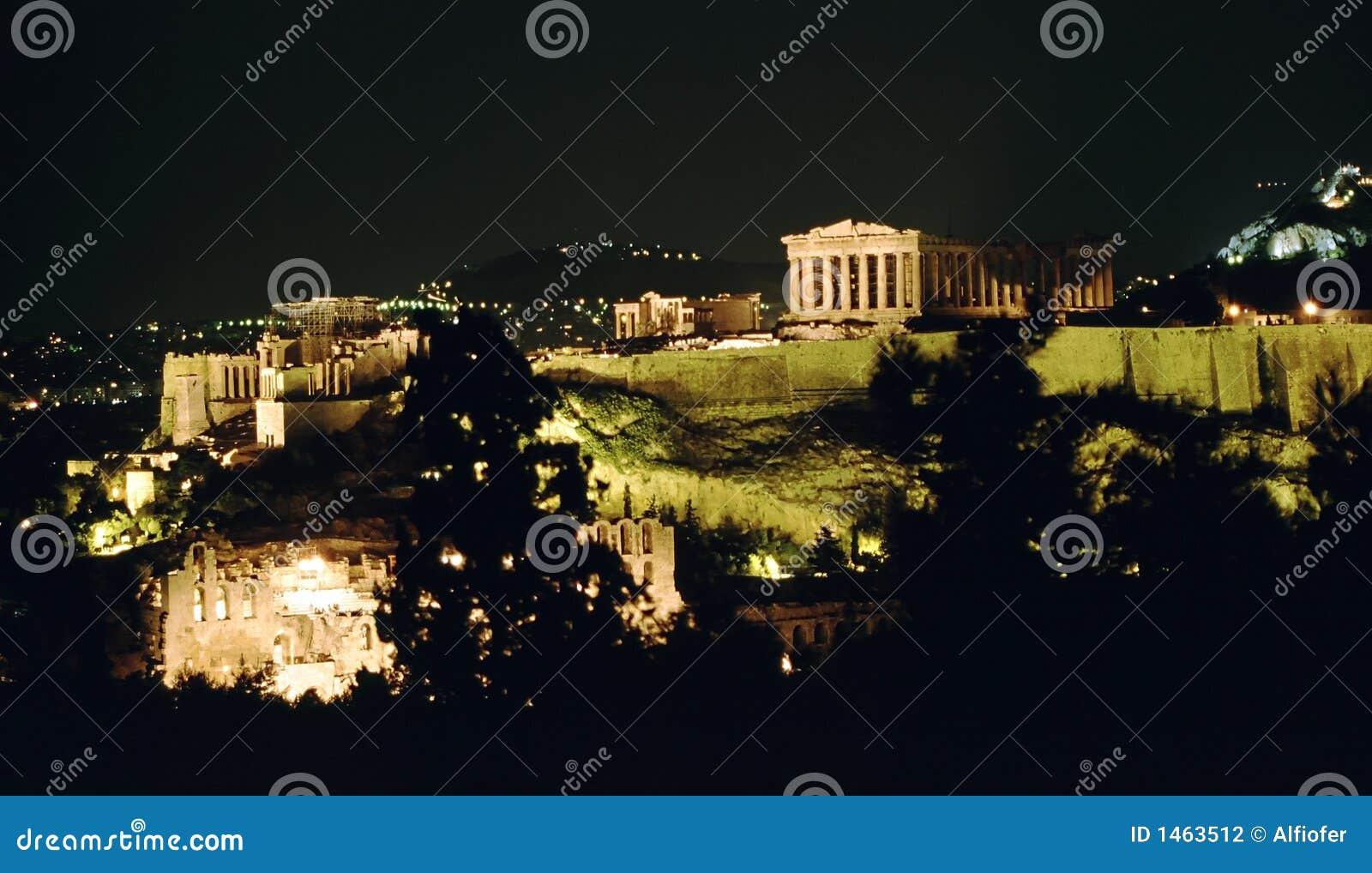 Acropole la nuit, Athènes,