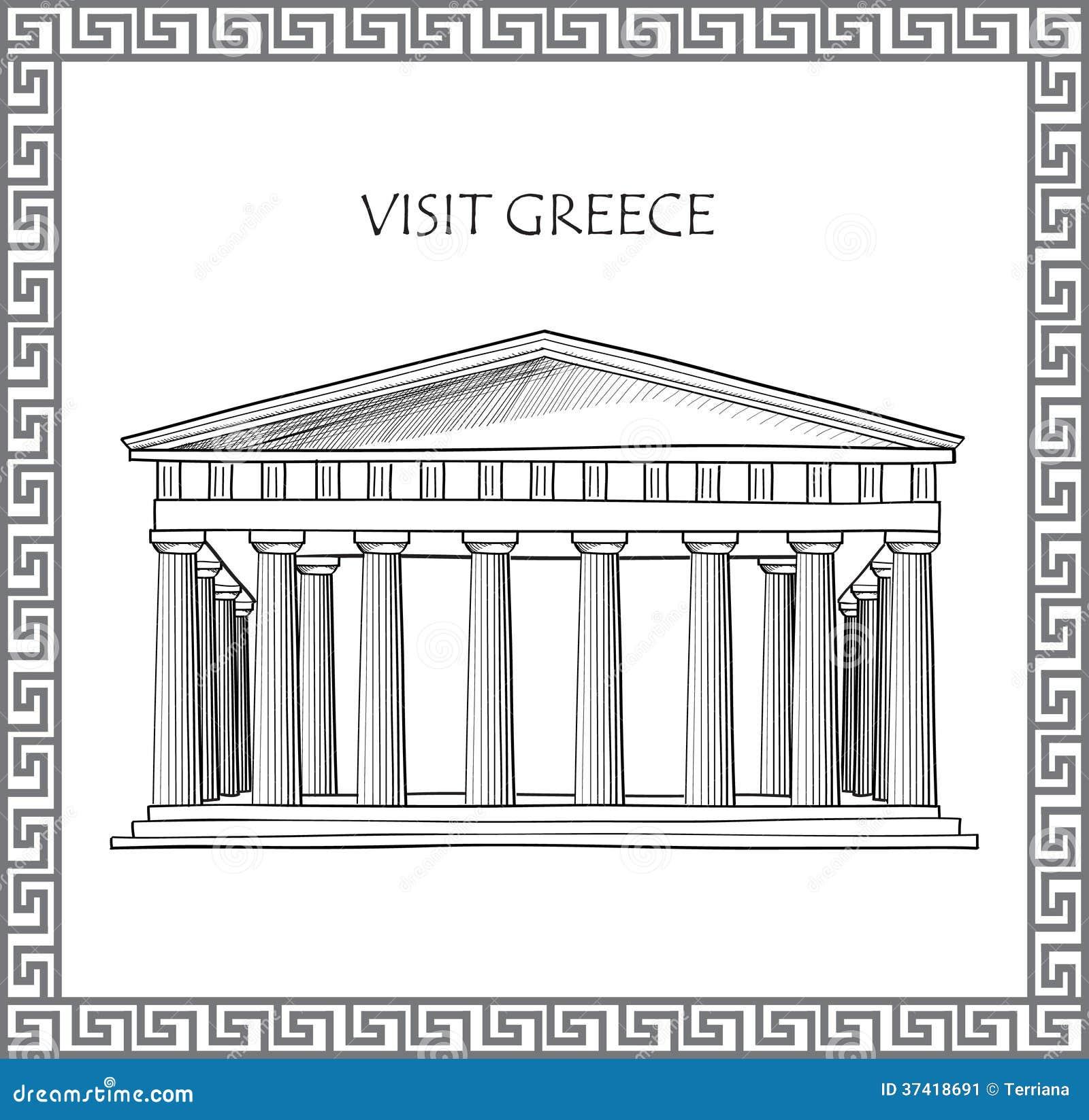 ... Sketches Acropolis in athens, greece. sketch of historic building