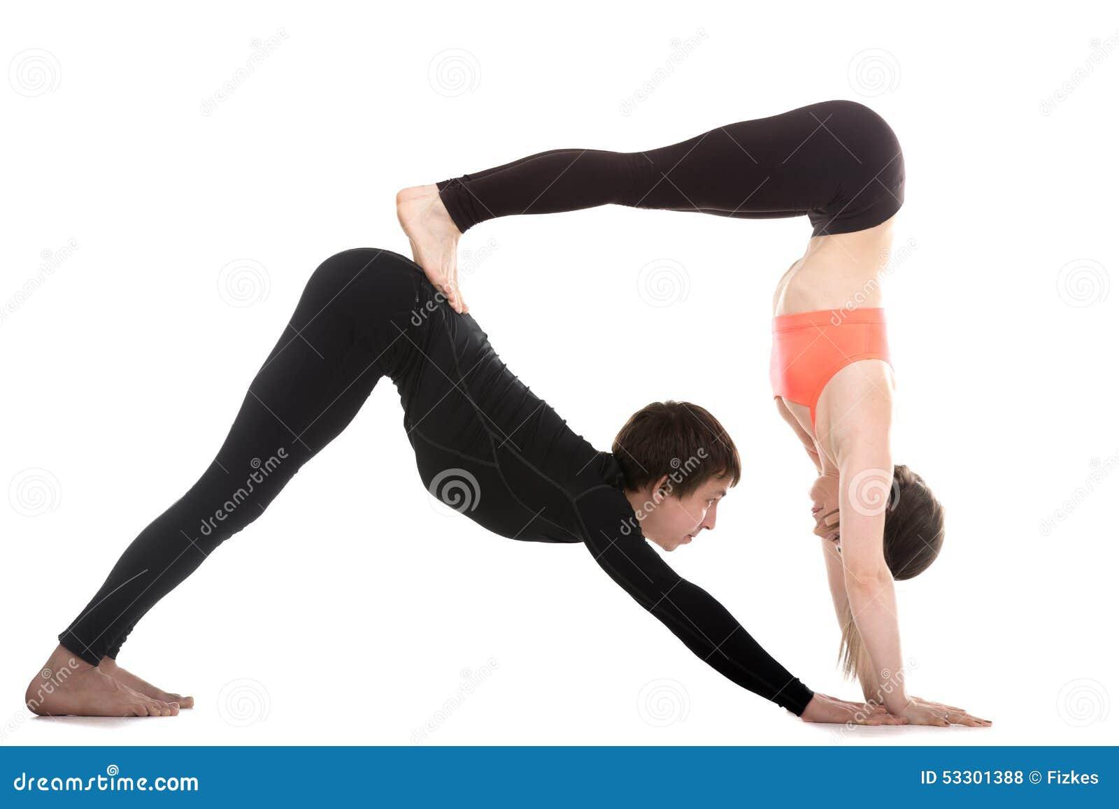 Top Acroyoga, Downward-facing Dog Yoga Pose Stock Photo - Image: 53301388 OZ16