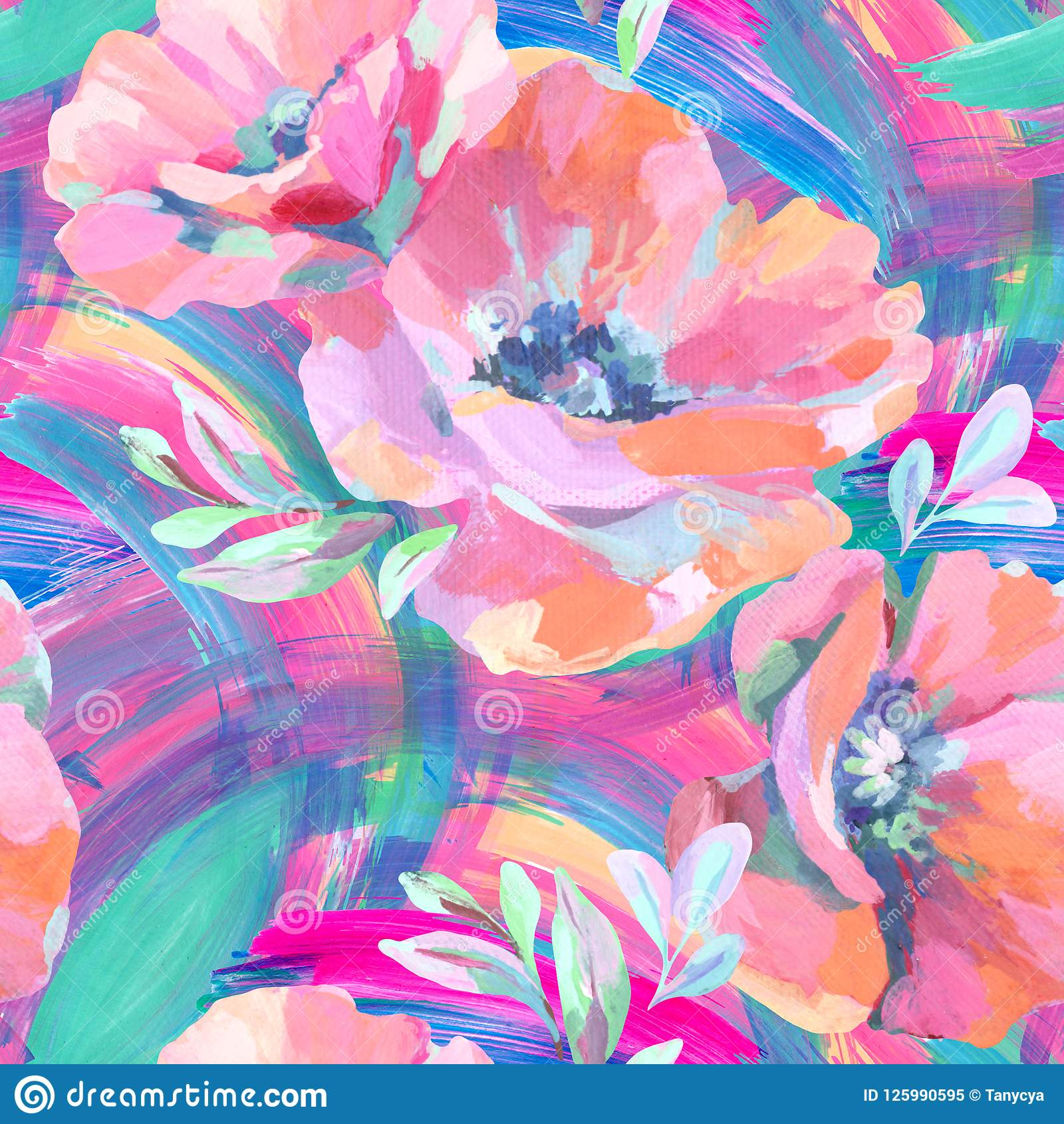 Acrylic Flowers, Leaves, Paint Smears Seamless Pattern