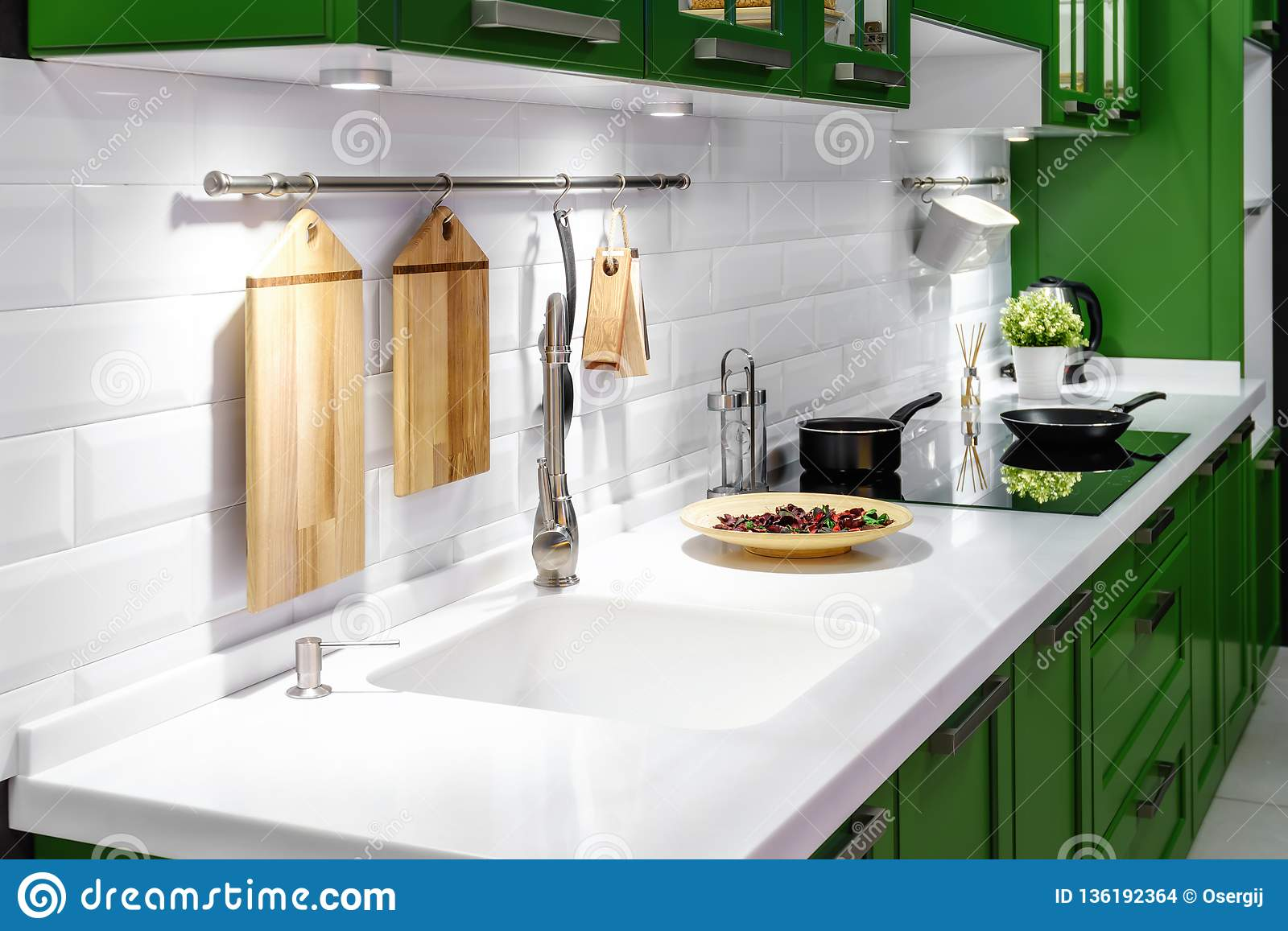 Acrylic Kitchen Sink Built Into The Countertop Stock Photo ...