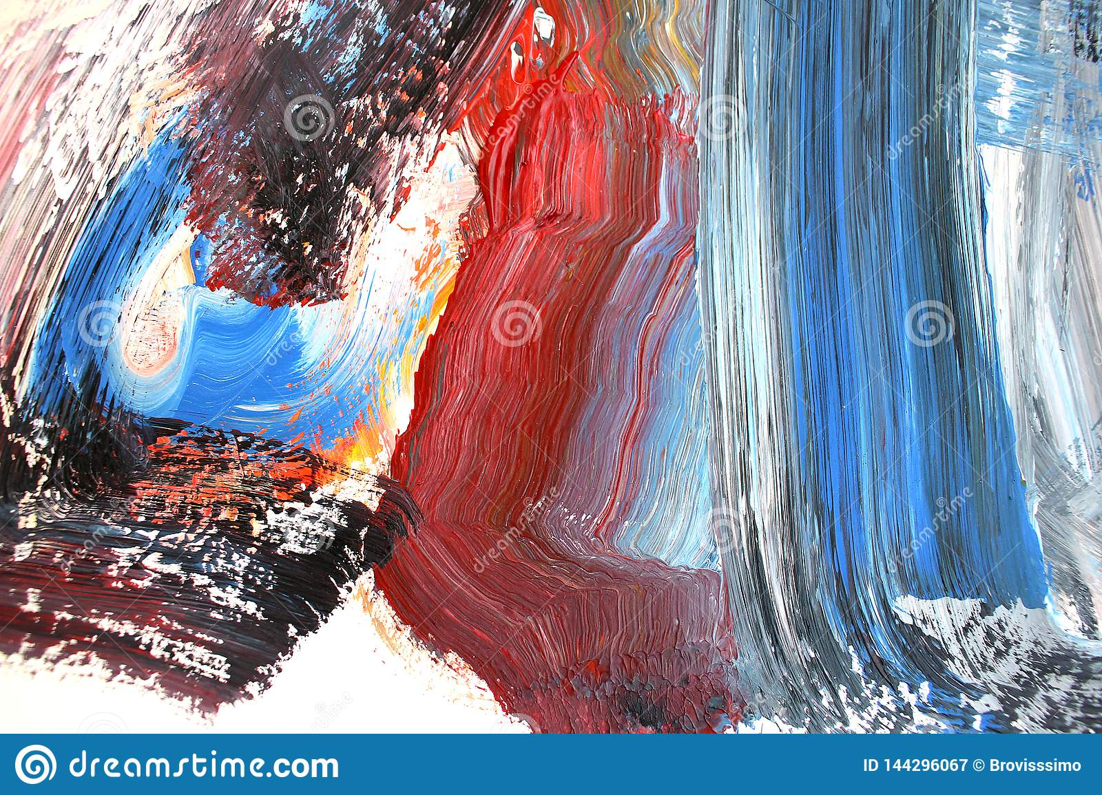 Bright Strokes On Canvas Abstract Art Background Color