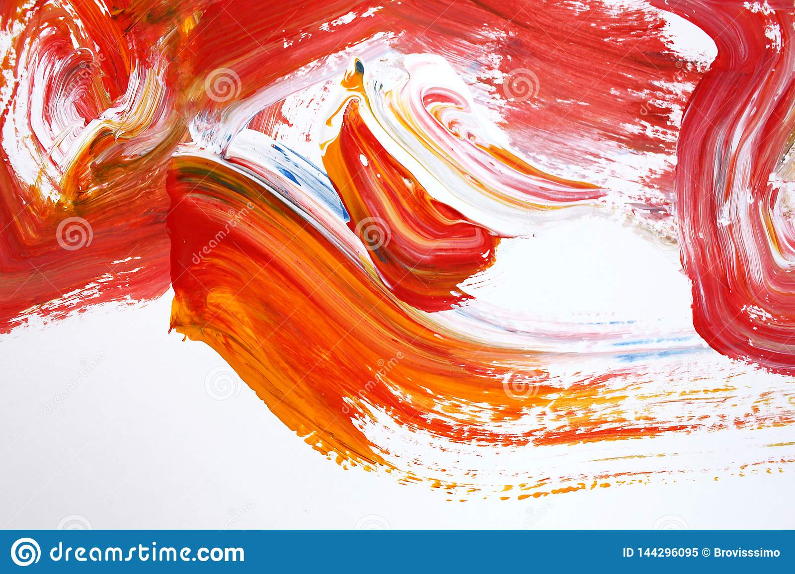 Red Bright Strokes On Canvas Abstract Art Background Color