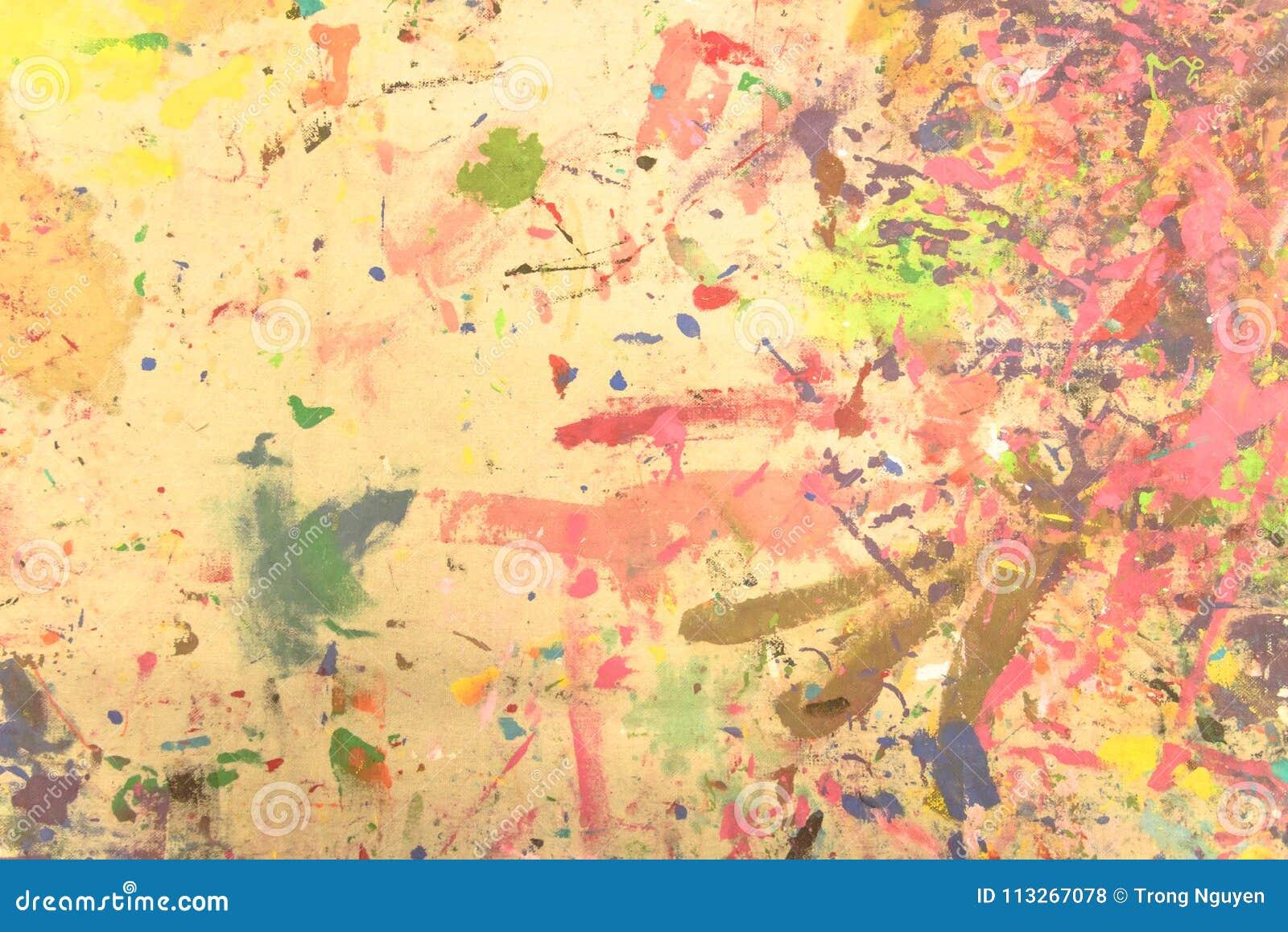 Acrylsauerhandgemaltes des abstrakten Schmutzes auf Segeltuchhintergrund