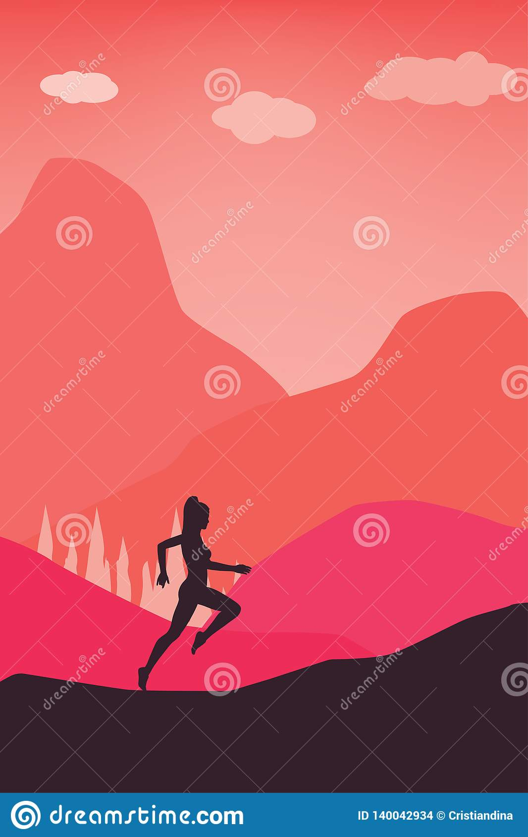 Actief levensstijlconcept - Lopende Vrouwen in het Vectormalplaatje van de Aardpastelkleur