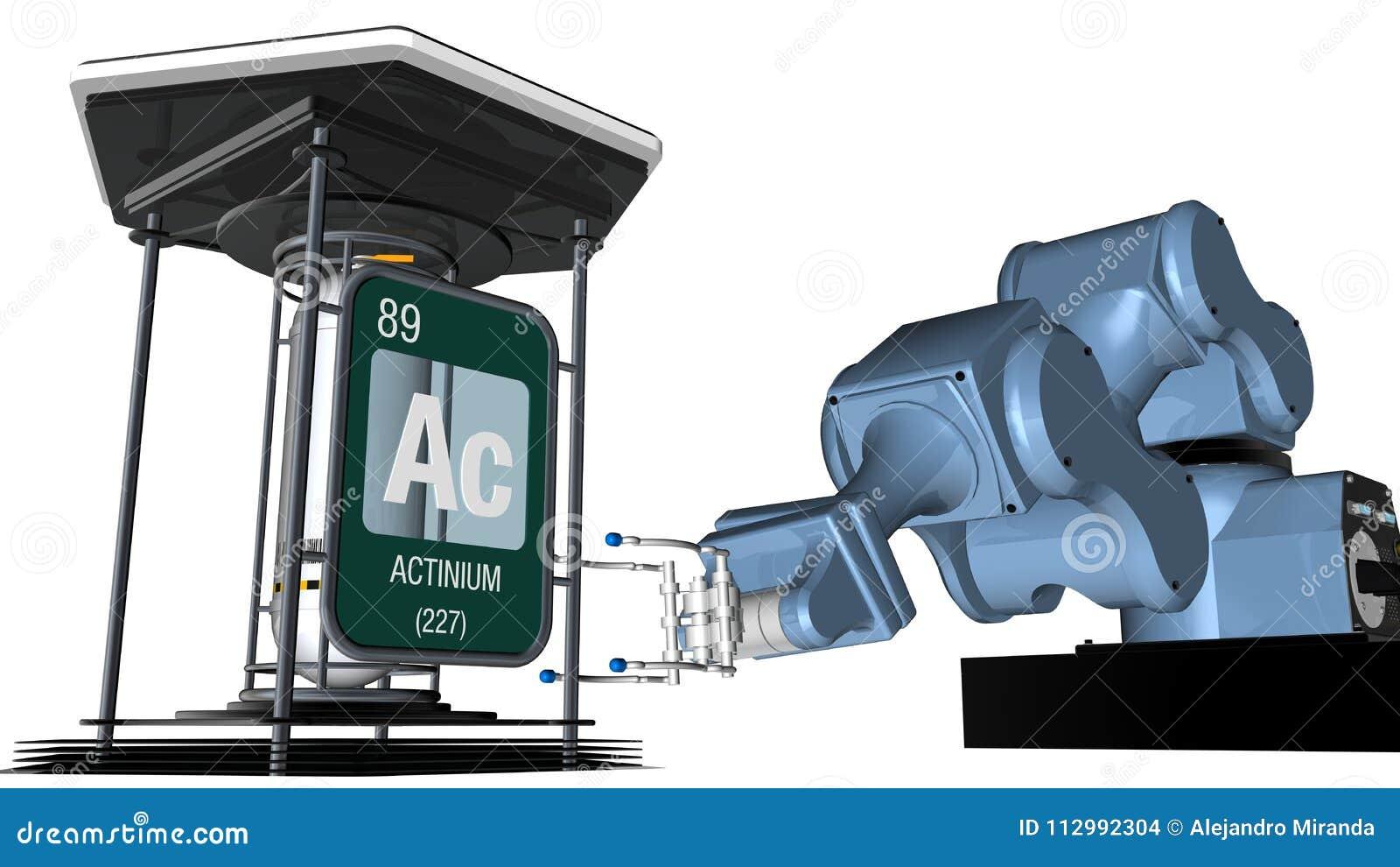 Actinium Symbol In Square Shape With Metallic Edge In Front